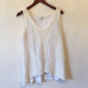 CAbi White knit tank